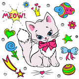 Vector collection of colorful stickers for girls. Kitty, flowers, bows, ball, stars, speech, hearth, clouds.