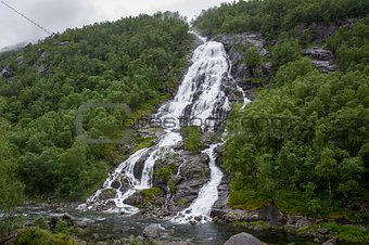 Waterfall in the hills of Norway.