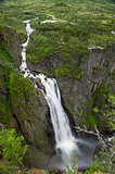 Voringsfossen waterfall close view, Norway.