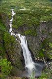 Voringsfossen waterfall close view, Norway.