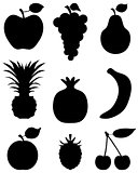 Silhouettes of fruit