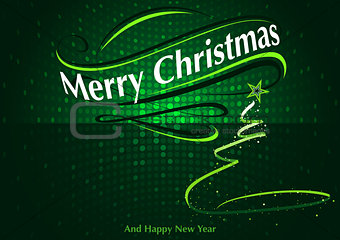 Abstract Green Christmas Greeting
