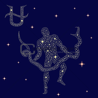 Alternative Zodiac sign Ophiuchus on the starry sky