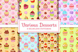 Set of 8 seamless vector patterns of desserts cupcakes, macaroons, profiteroles, meringues and tarts.