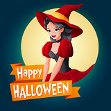 Woman in witch costume. Vector card with text.
