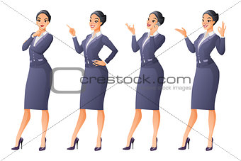 Asian business woman in different poses. Vector set.