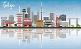 Tokyo Skyline with Gray Buildings, Blue Sky and Reflections.