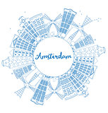 Outline Amsterdam city skyline with blue buildings and copy spac