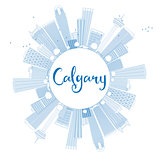 Outline Calgary Skyline with Blue Buildings and Copy Space.