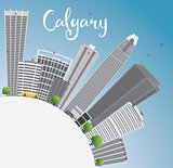 Calgary Skyline with Gray Buildings, Blue Sky and Copy Space.