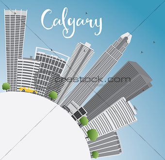 Calgary Skyline with Gray Buildings, Blue Sky and Copy Space.