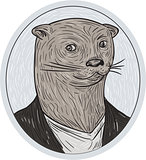 Otter Head Blazer Shirt Oval Drawing