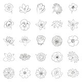 simple black outline flower icon set