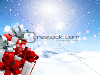 3D Christmas gifts in a snowy landscape