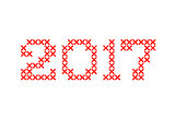 Embroided by cross stitch text 2017 new year isolated on white background.