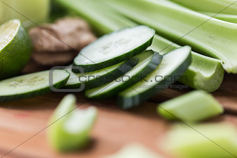 close up of celery stems and sliced cucumber