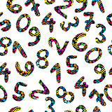 Colorful numbers seamless pattern