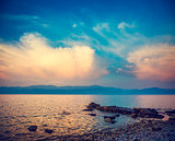 Beautiful Sea and Blue Sky with Clouds at Sunset