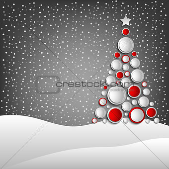 Christmas card with abstract tree and snowy landscape