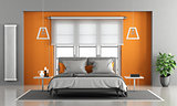 Gray and orange master bedroom