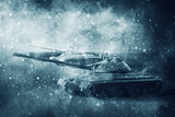 Two battle tanks moving in a snow storm