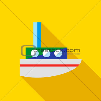 A child's toy boat on a yellow background