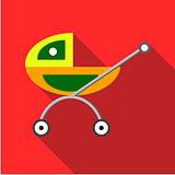 Children's toy pram on a red background