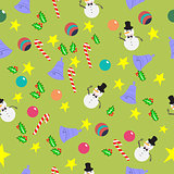 Seamless pattern with cute cartoon Christmas