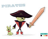 Pirate with a dog, on white background. Children illustration cartoon.