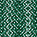 Seamless knitted interwoven pattern in green hues