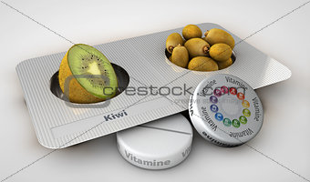 Close up of kiwi and pills isolated - vitamin concept