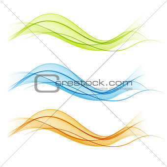 Abstract colorful transparent wave collection