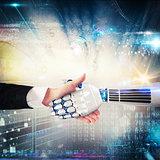 Handshake between human and robot. 3D Rendering