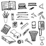 Black and white background- office stationery