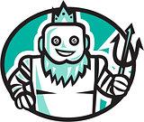 Robotic Poseidon Holding Trident Oval Retro