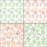 Seamless pattern set with orange and green twigs silhouette.