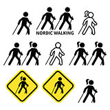 Nordic Walking, people walking outdoors with sticks icons set