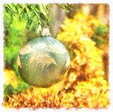 Christmas ball on fir branch