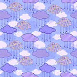 pattern with abstract clouds and raindrops