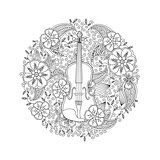 Coloring page with ornamental violin in circle shape on white background.