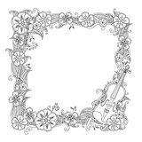 Coloring page - border, square frame with violin isolated on white background.