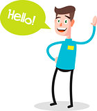 Successful young businessman character saying hello with speech bubble, front view. Business, job, professional, consultant concept. EPS10 vector illustration