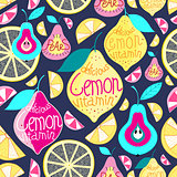 Seamless pattern lemons pears