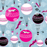 Graphic design of balloons and swallows