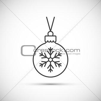 Christmas ball thin line icon