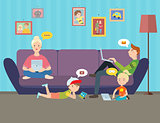 Illustration of Family using electronic gadgets