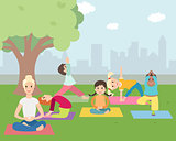 Illustration of Kids with instructor doing Yoga outdoors
