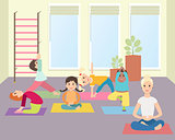 Kids yoga with Instructor in gym class