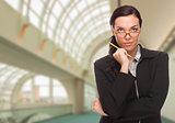 Serious Businesswoman Inside Corporate Building