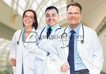 Group of Doctors or Nurses Inside Hospital Building